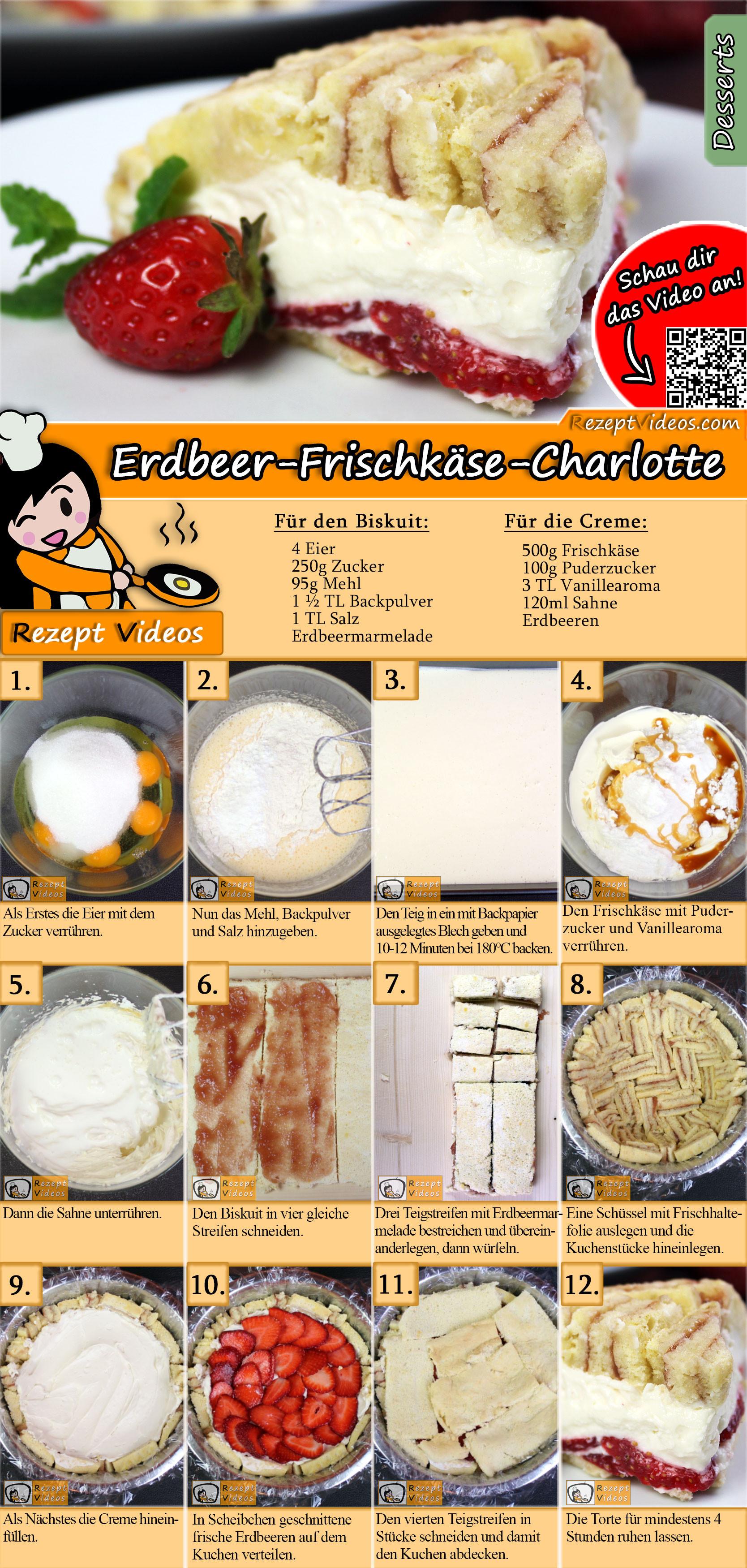 Erdbeer-Frischkäse-Charlotte Rezept mit Video
