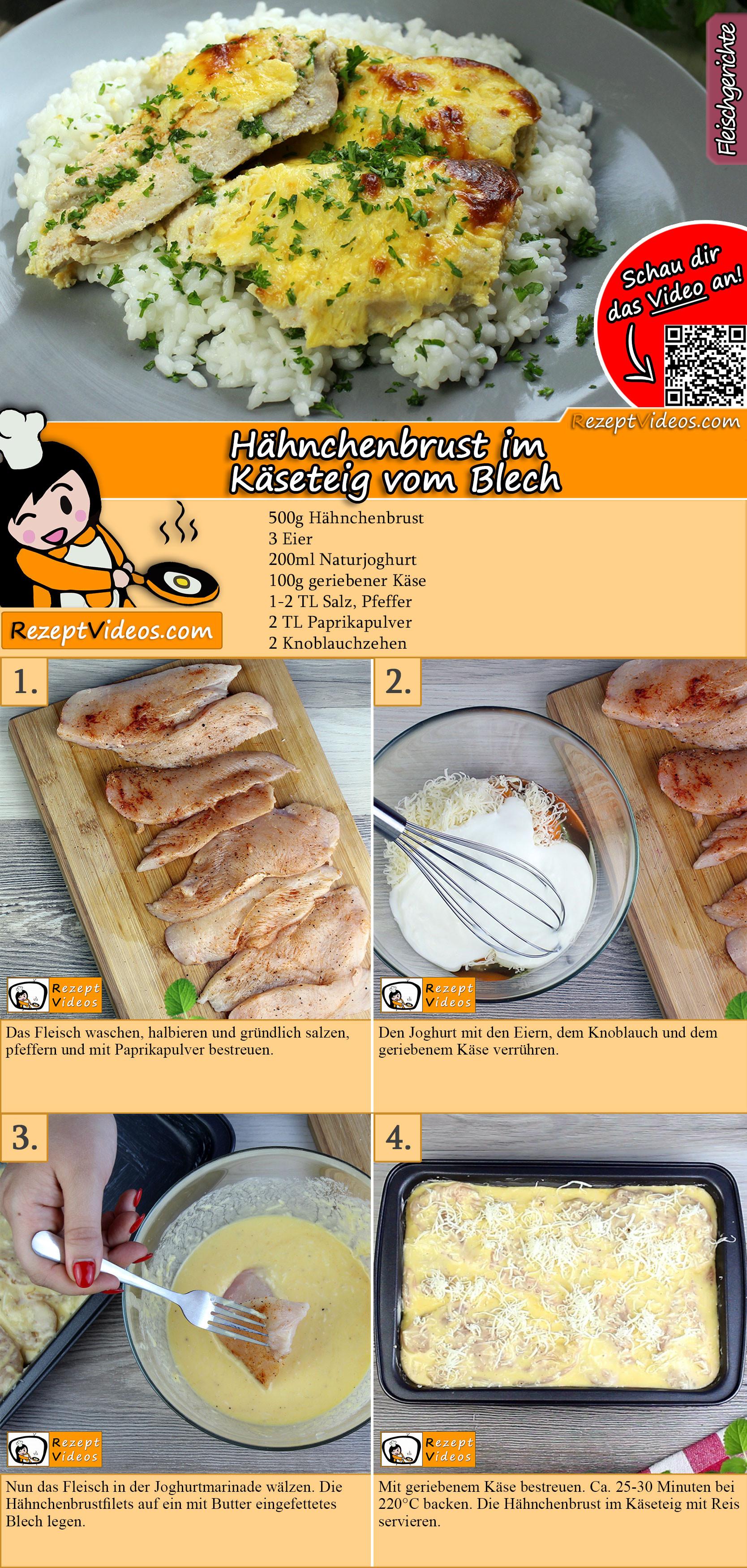 Hähnchenbrust im Käseteig vom Blech Rezept mit Video