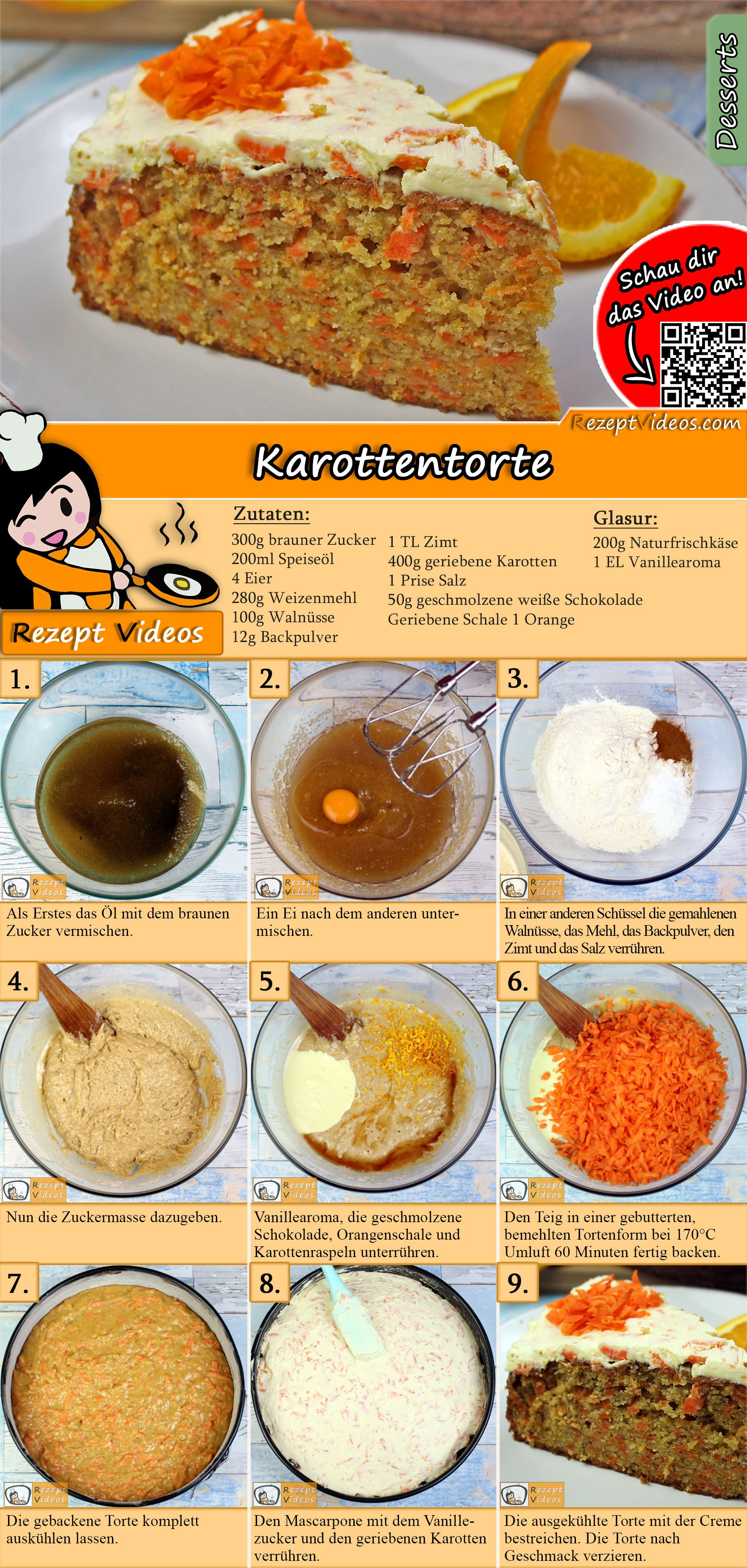 Karottentorte Rezept mit Video
