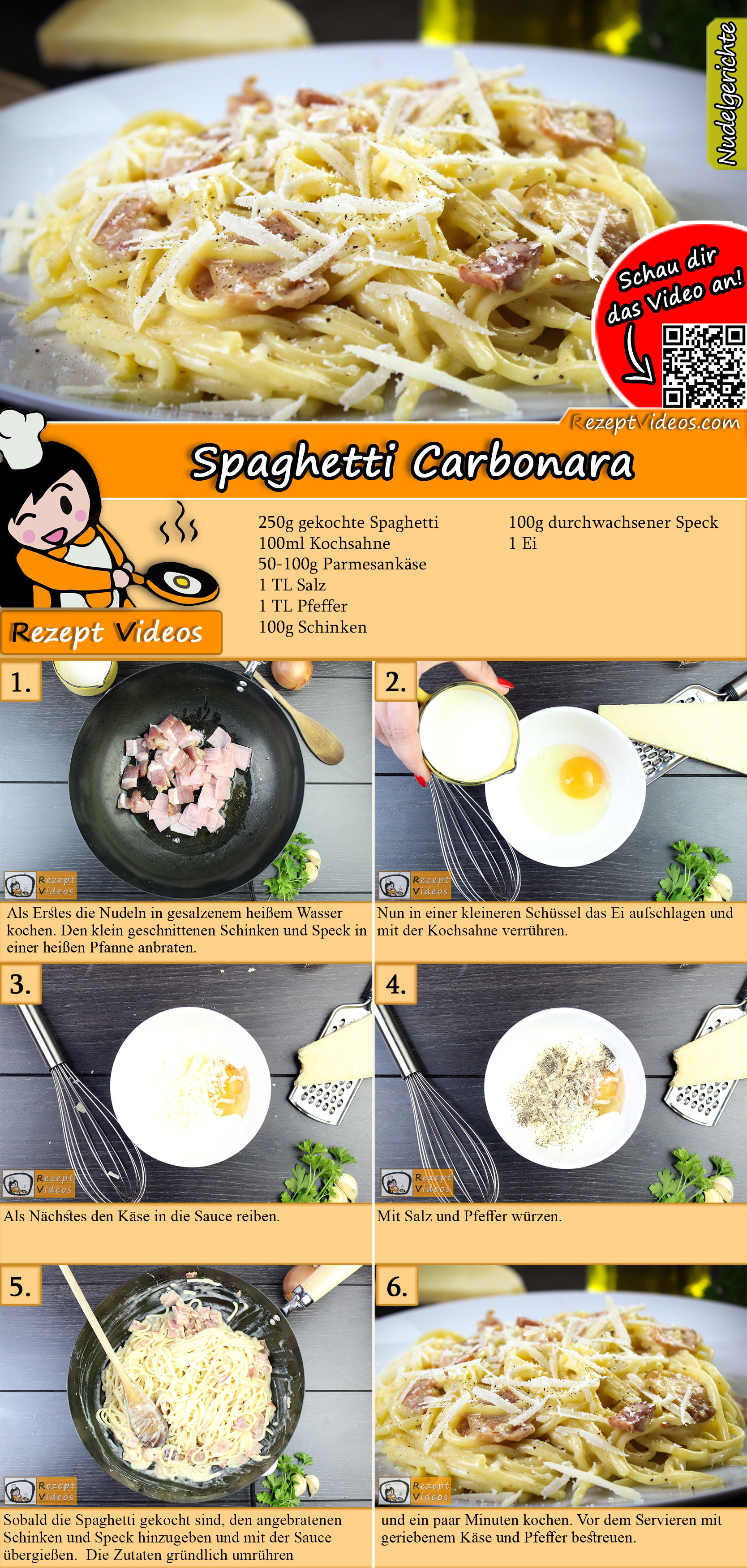 Spaghetti carbonara Rezept mit Video