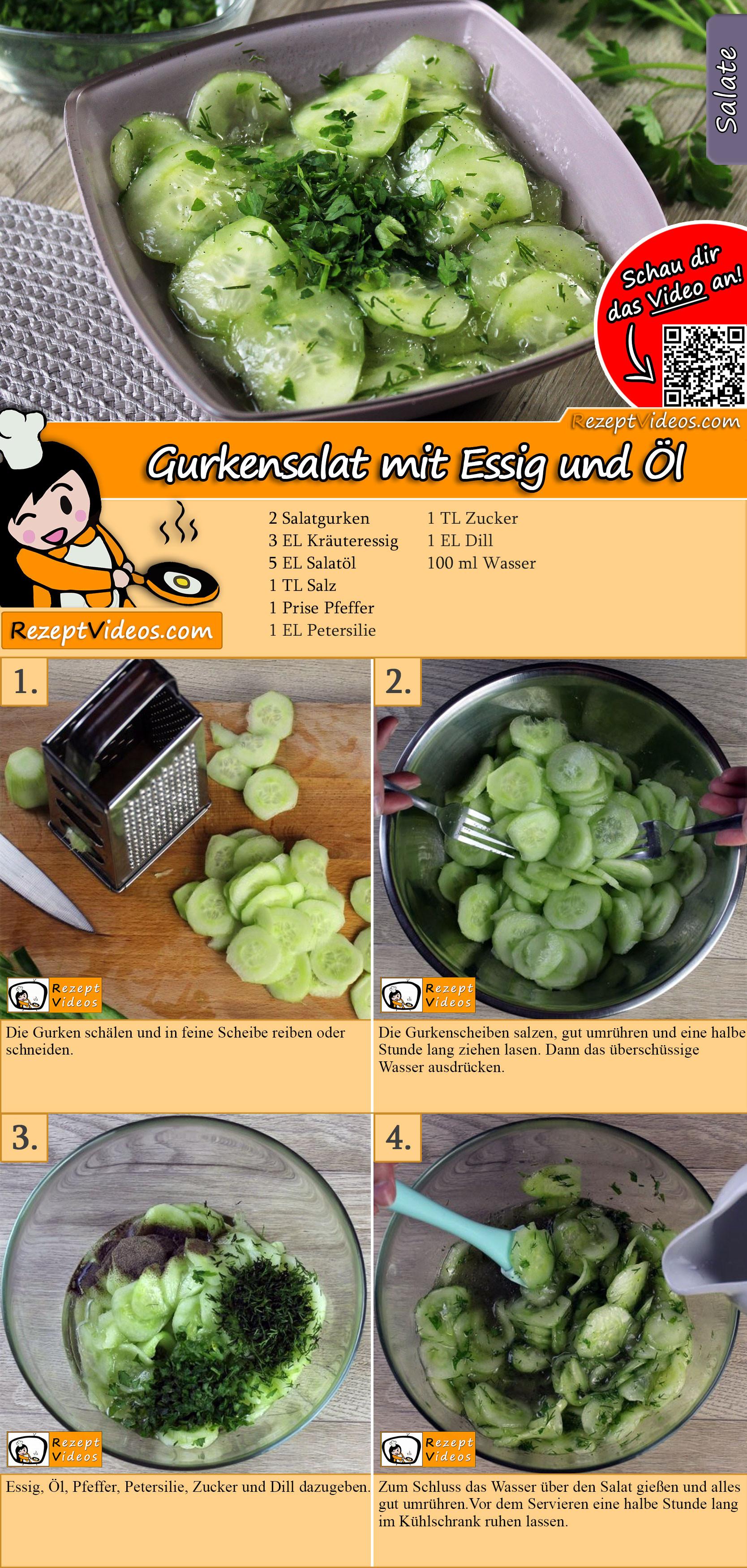 Gurkensalat mit Essig und Öl Rezept mit Video