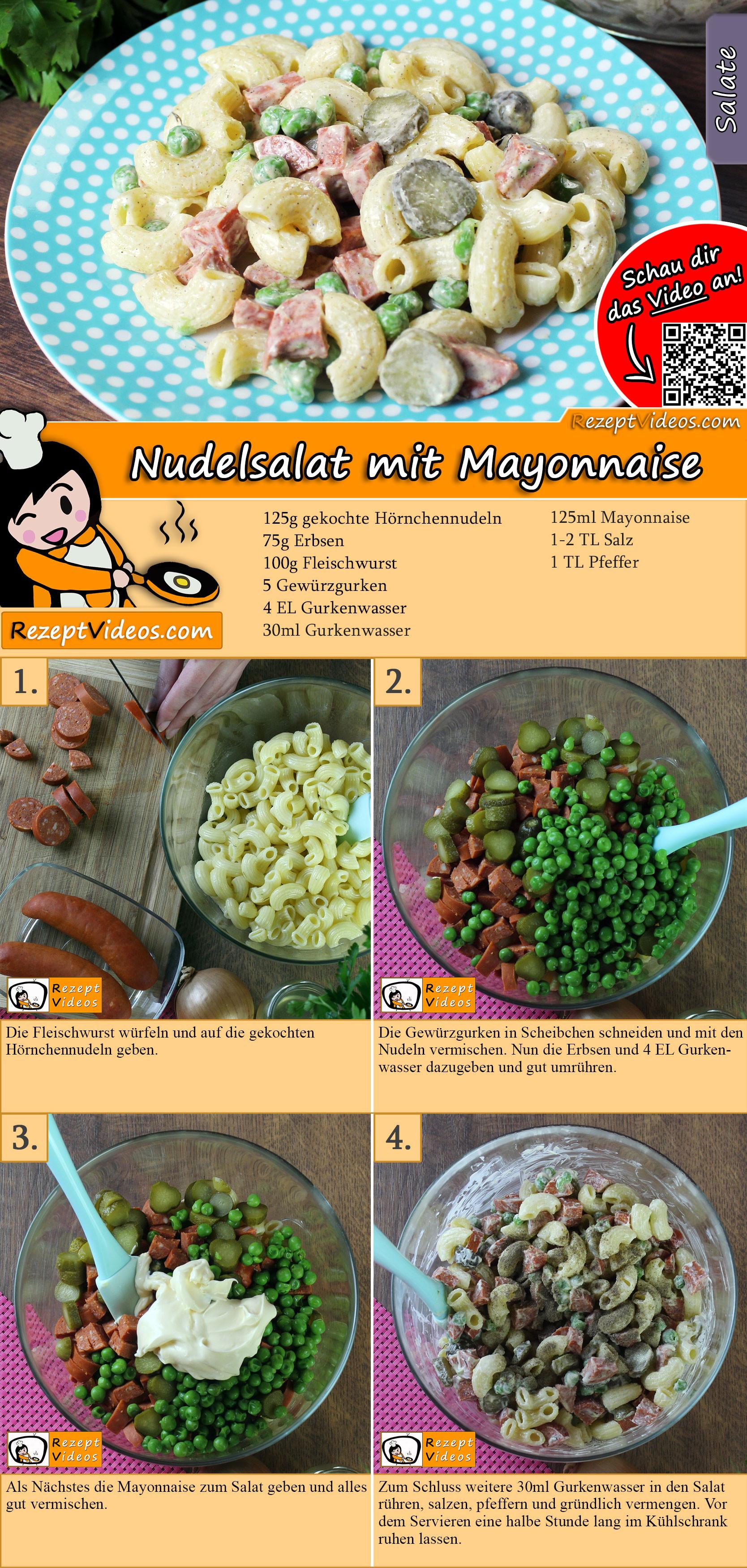 Nudelsalat mit Mayonnaise Rezept mit Video