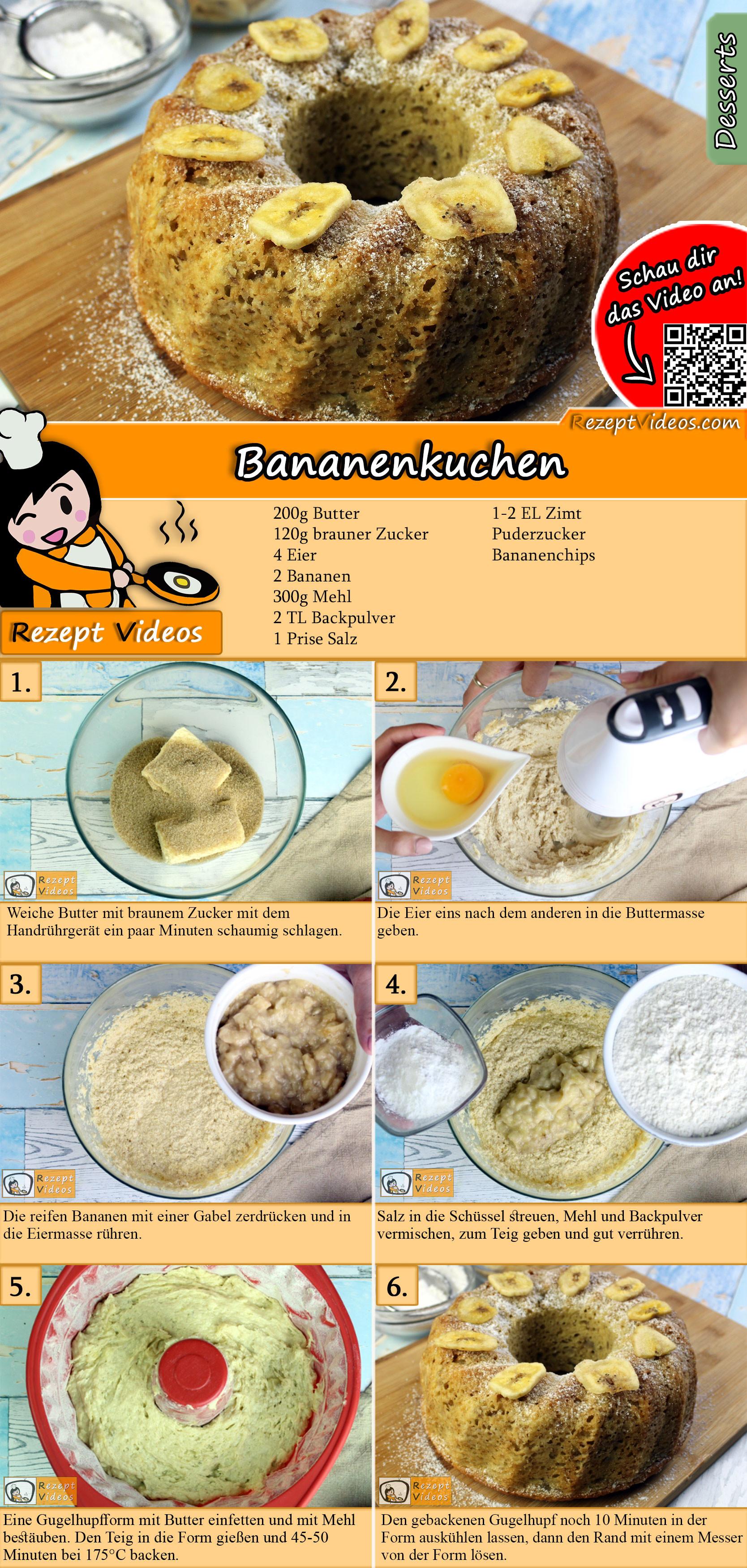 Bananenkuchen Rezept mit Video