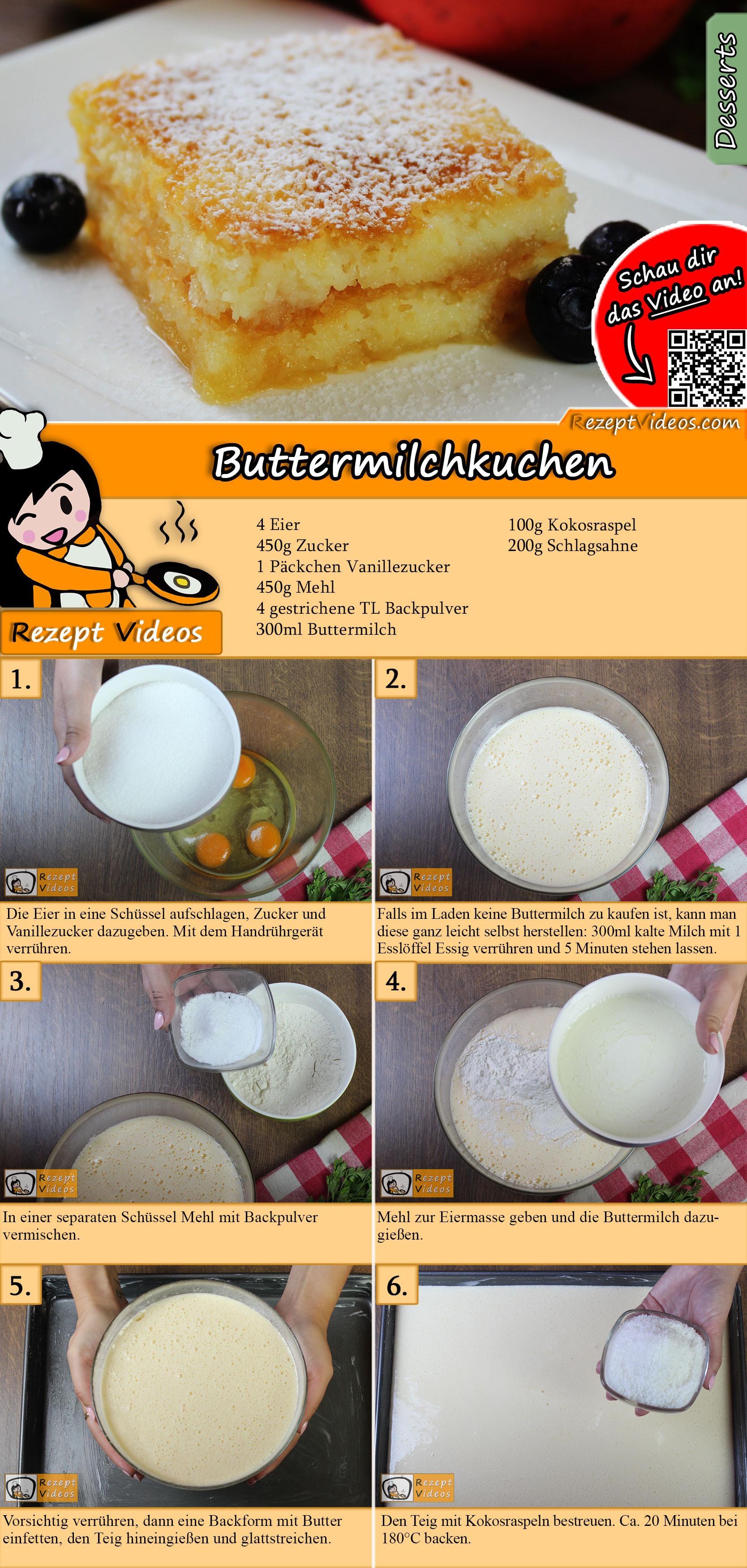 Buttermilchkuchen Rezept mit Video