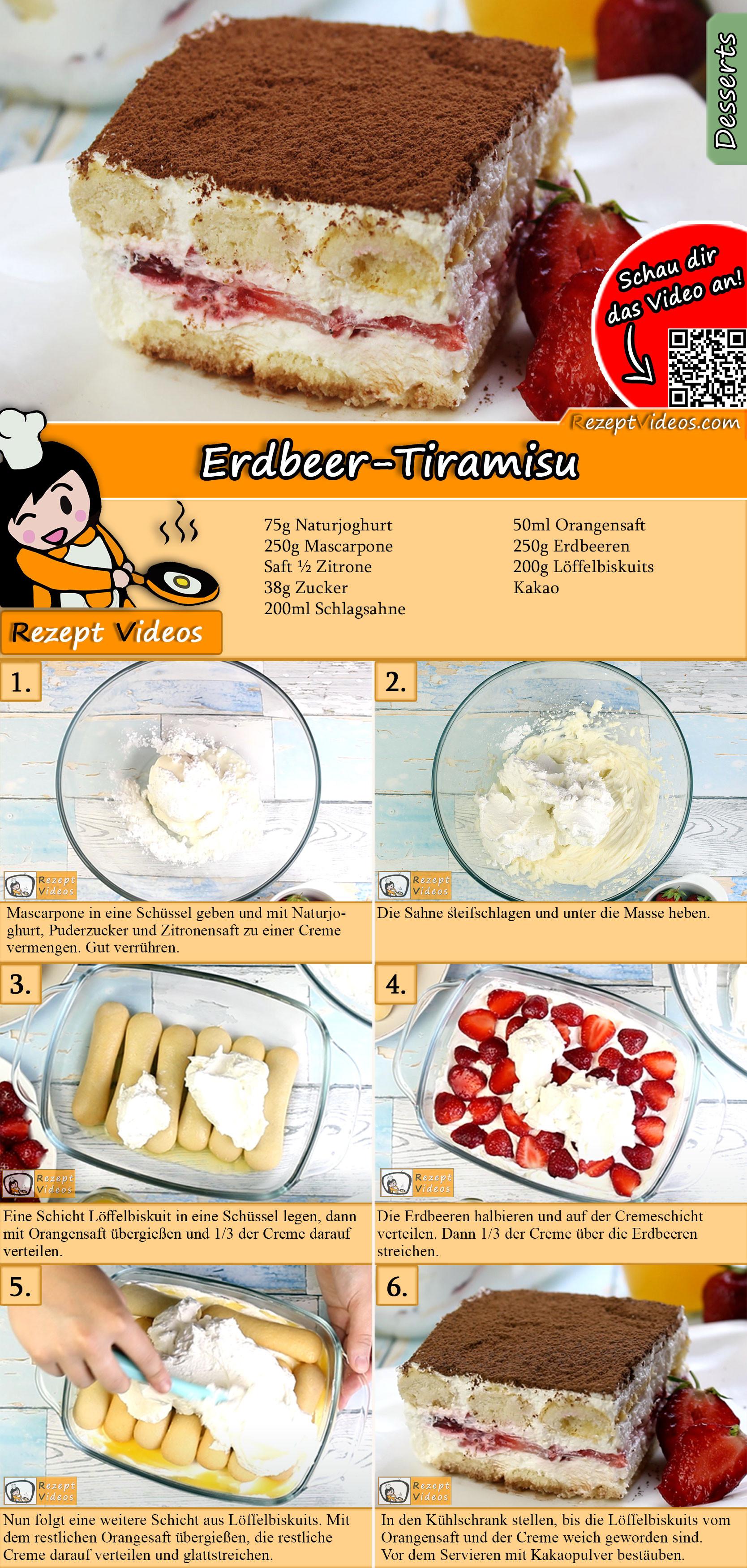 Erdbeer-Tiramisu Rezept mit Video