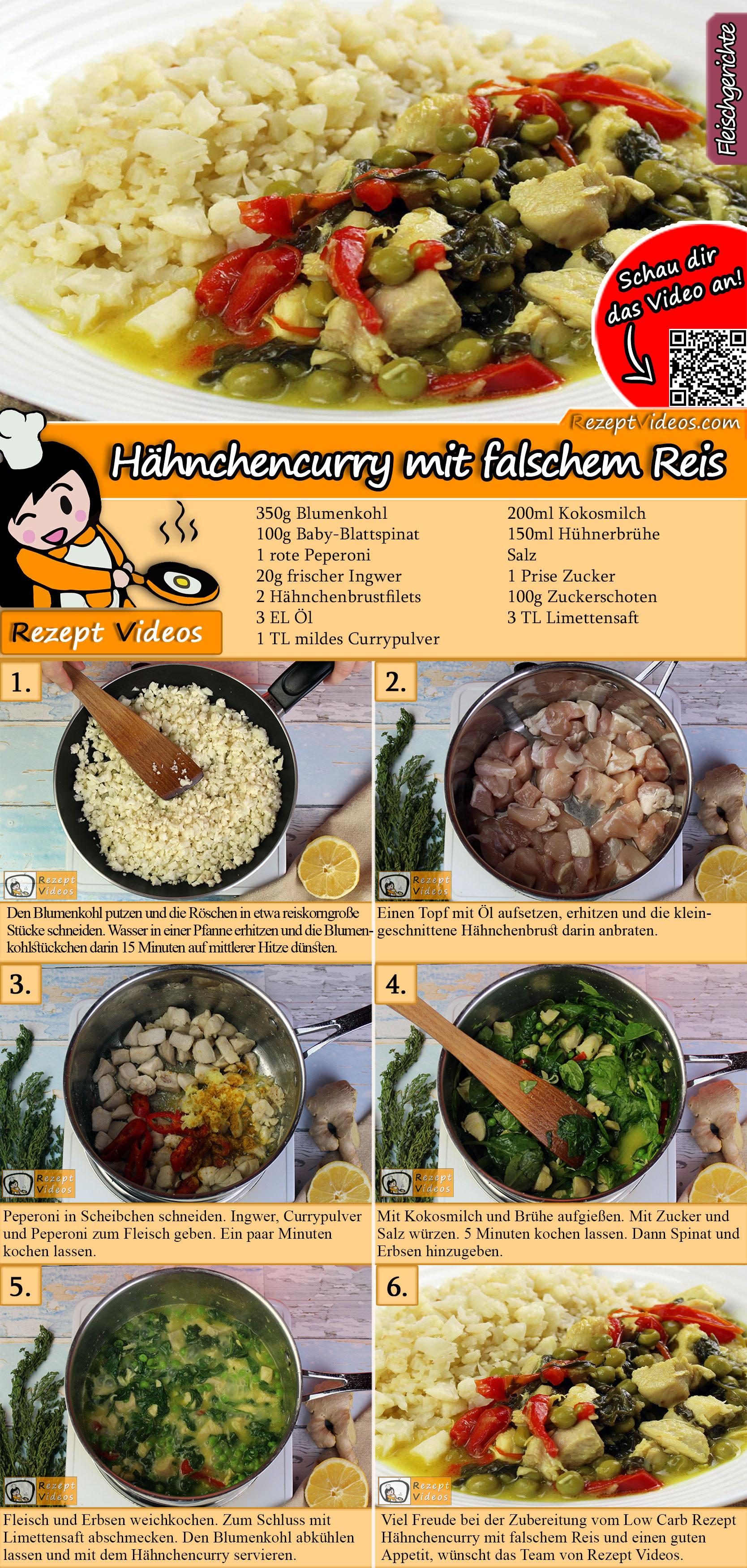 Hähnchencurry mit falschem Reis Rezept mit Video