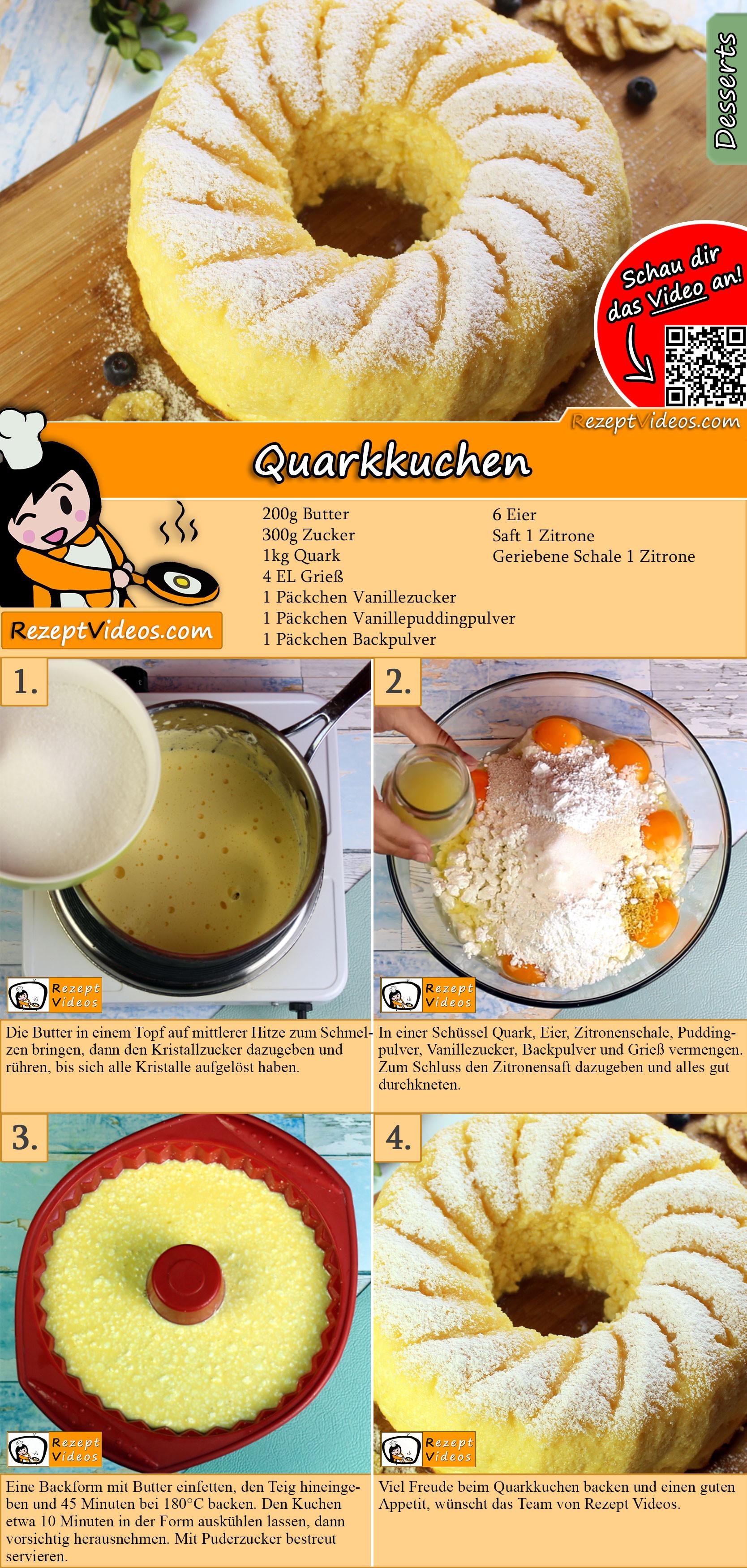 Quarkkuchen Rezept mit Video