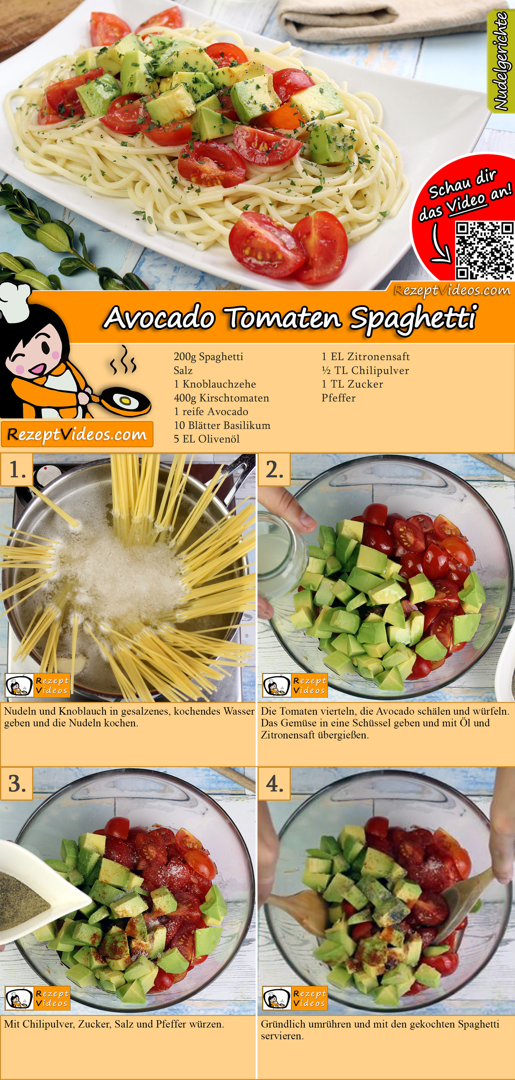 Avocado Tomaten Spaghetti Rezept mit Video