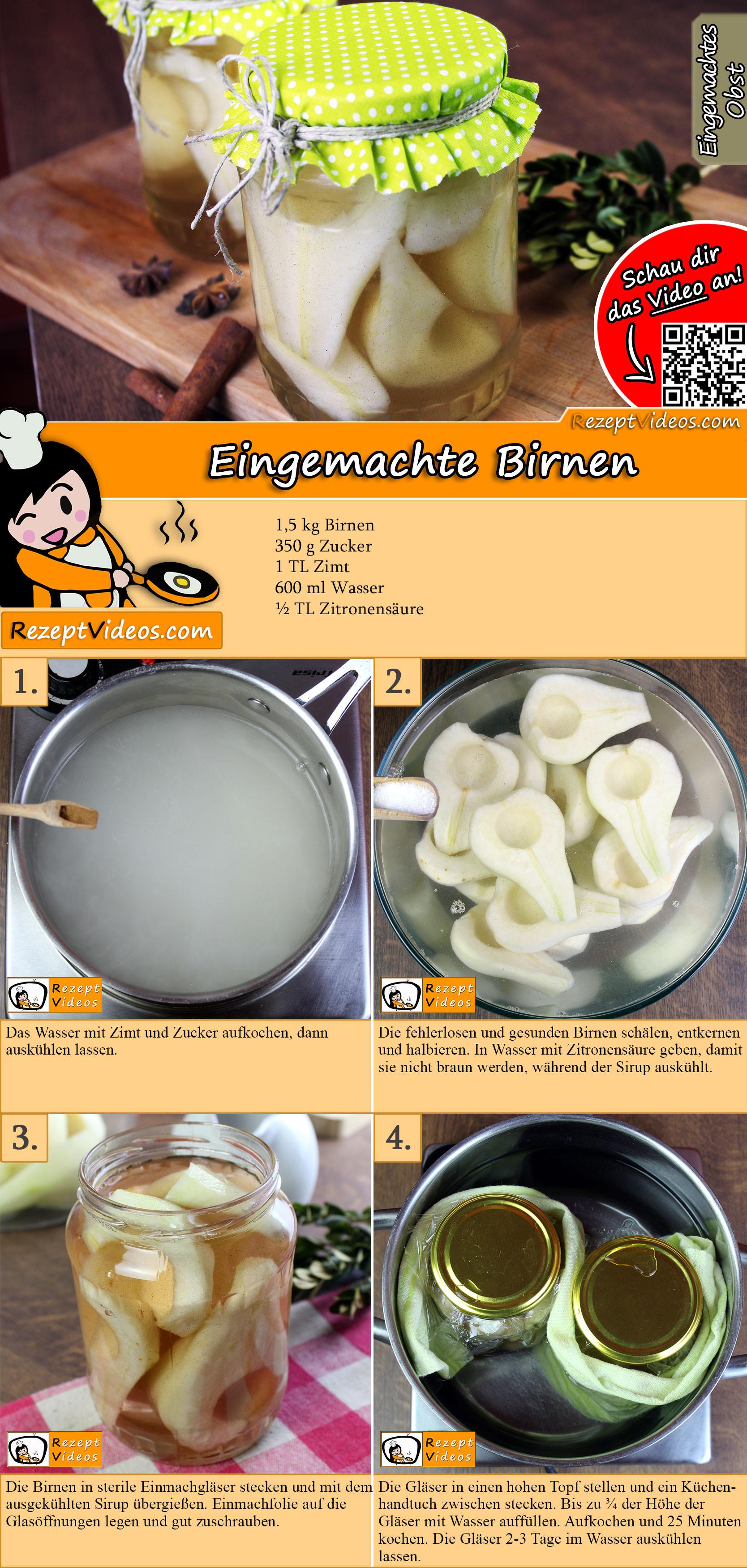 Eingemachte Birnen Rezept mit Video