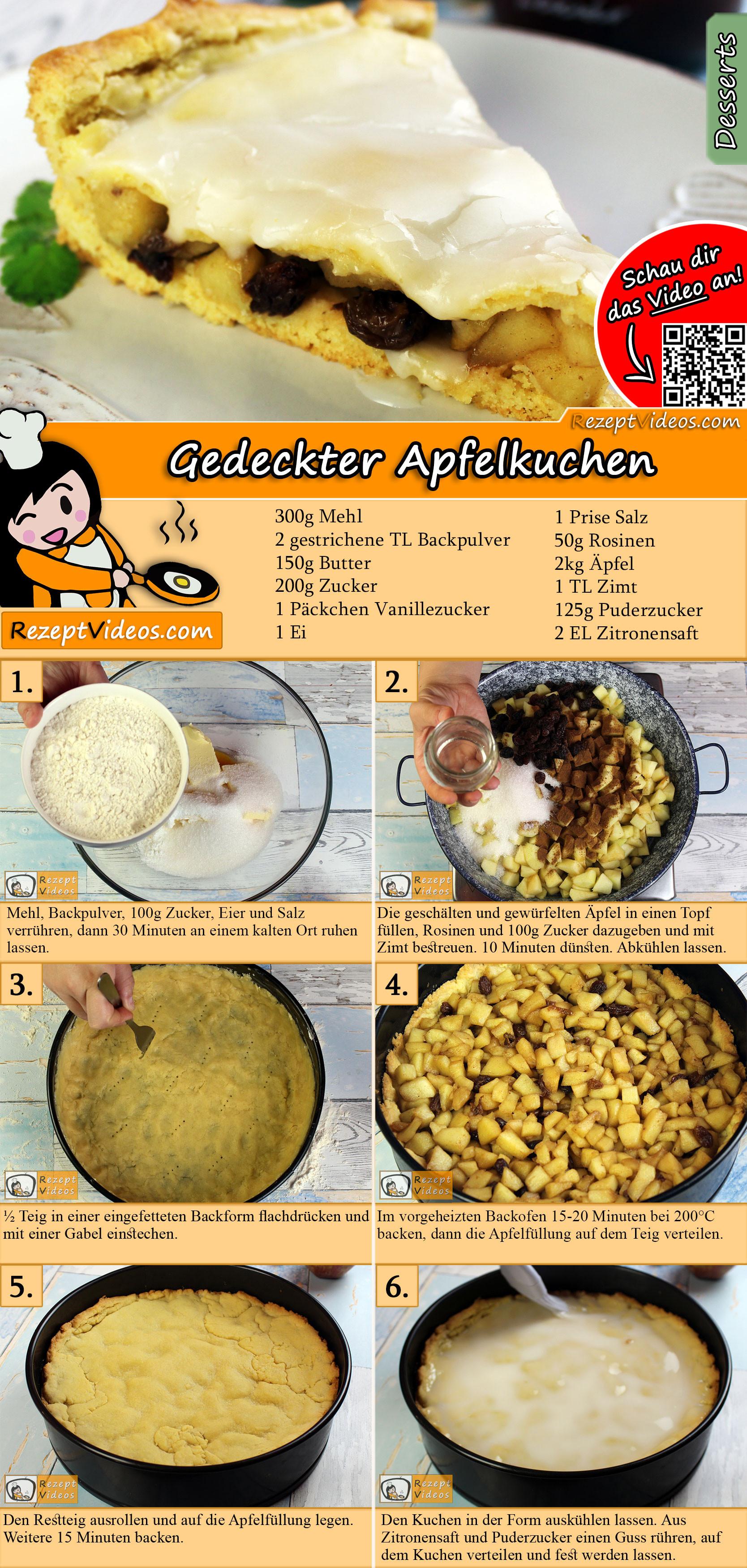 Gedeckter Apfelkuchen Rezept mit Video