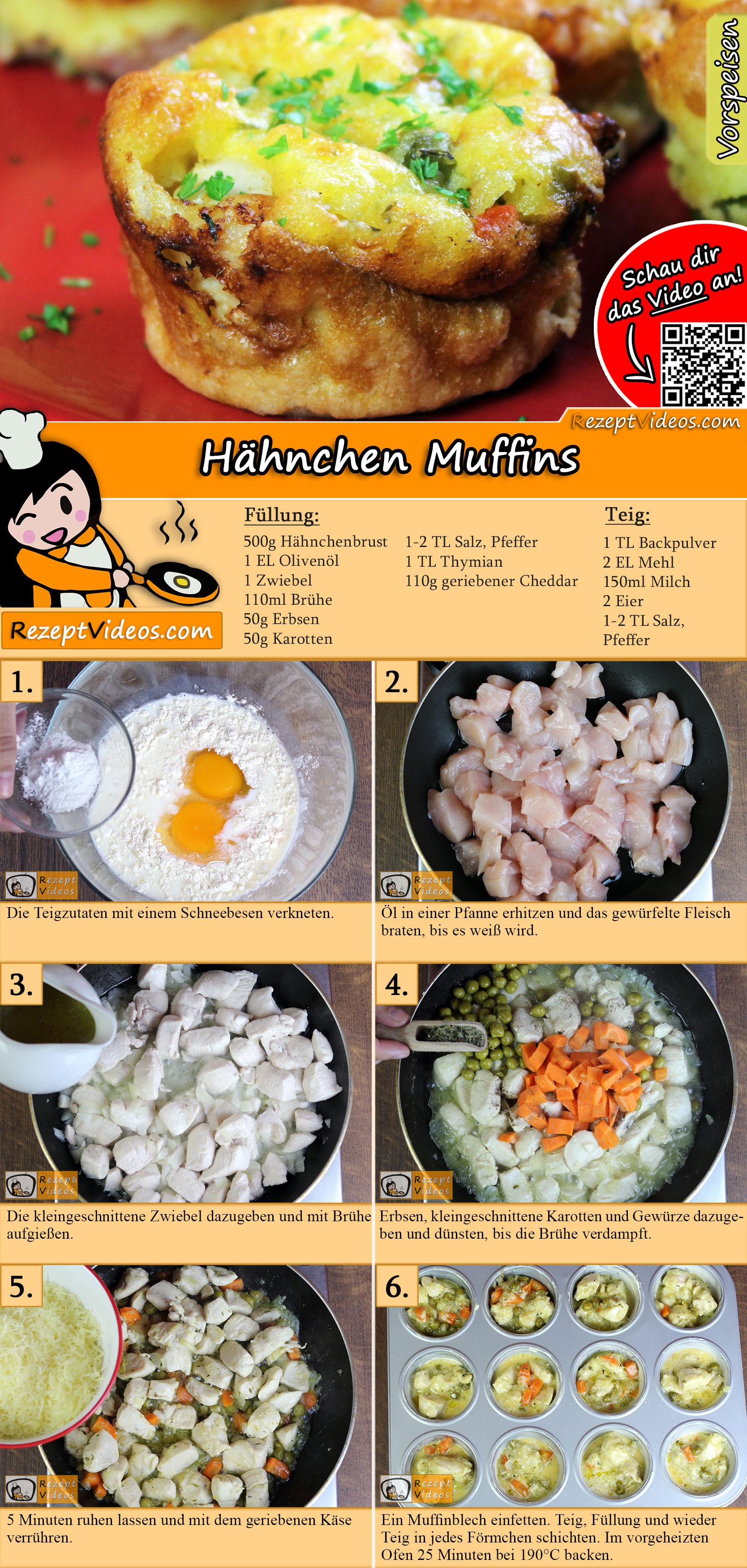 Hähnchen Muffins Rezept mit Video