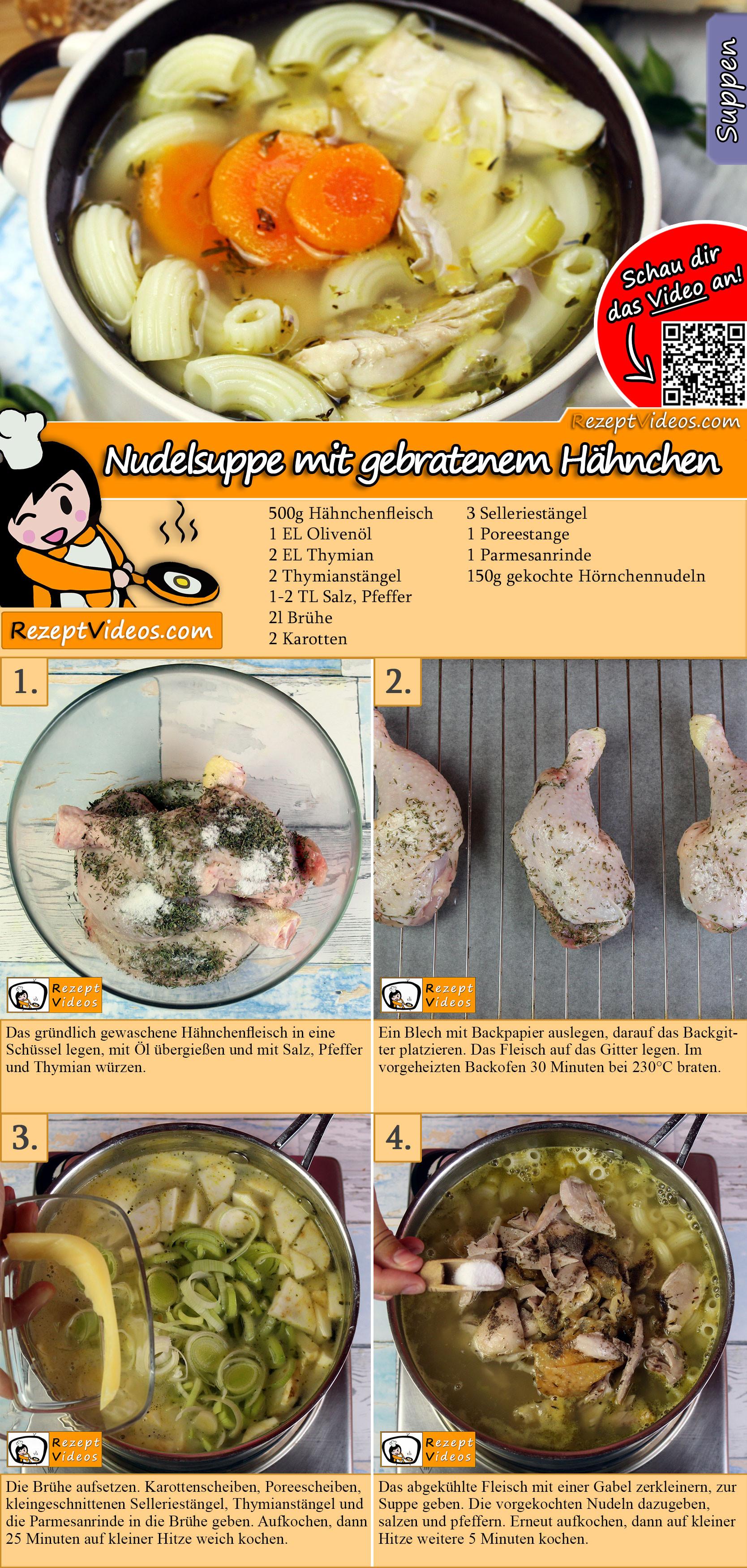 Nudelsuppe mit gebratenem Hähnchen Rezept mit Video