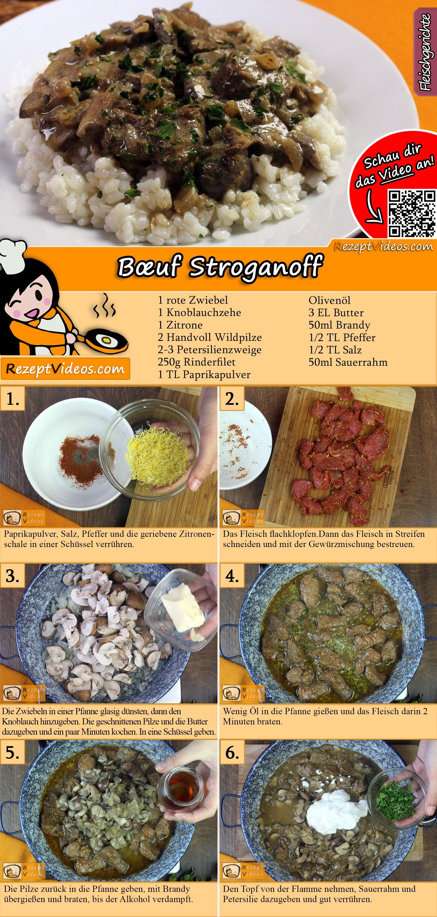 Bœuf Stroganoff Rezept mit Video