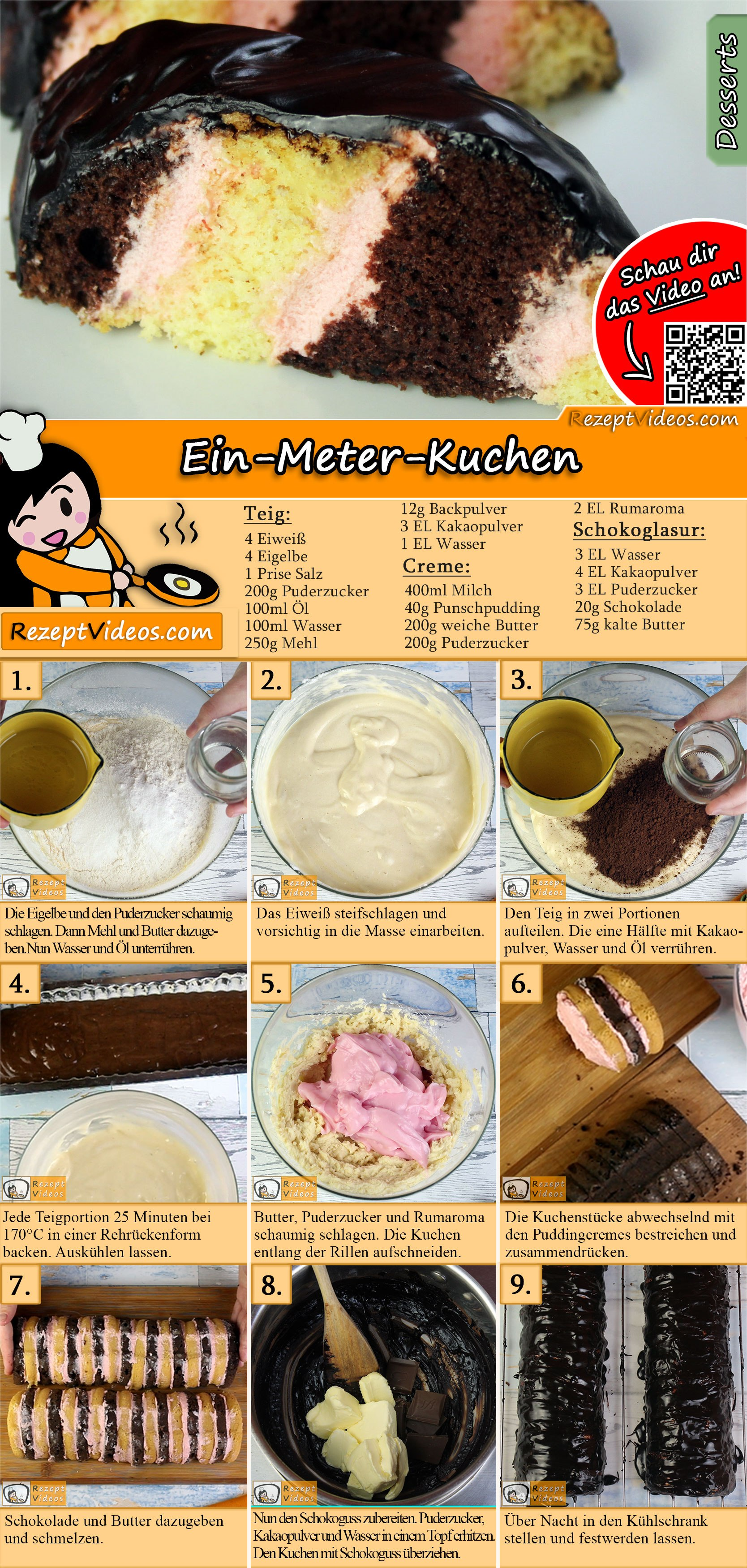 Ein-Meter-Kuchen Rezept mit Video